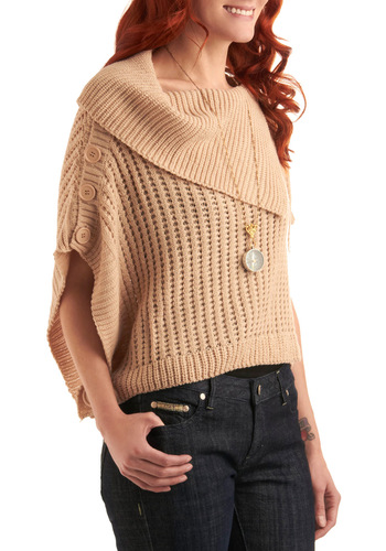 Warm Chai Sweater - Cream, Knitted, 3/4 Sleeve, Casual, 90s, Fall, Winter, Short