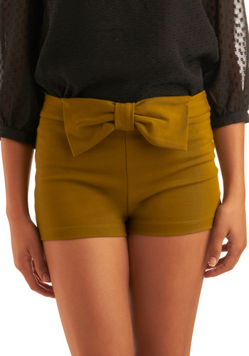 Just Bow You Know Shorts - Green, Tan, Solid, Bows, Party, Casual, Summer, Short