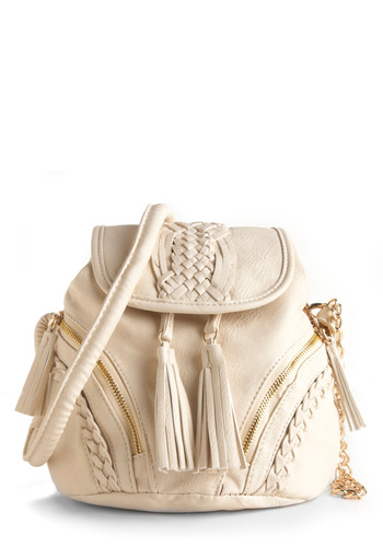 Alfajores Cookies Bag - White, Solid, Braided, Tassels