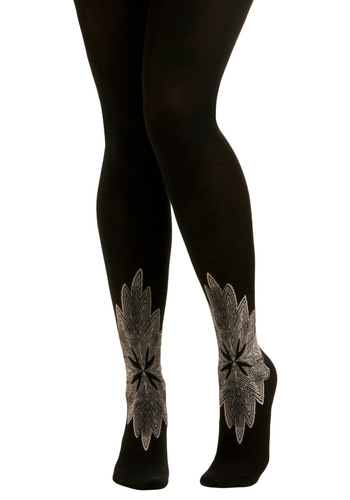 You're Supernova Tights - Black, Grey, Print, Party, Work, Casual, Fall, Winter, Solid