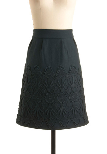 Friends For-evergreen Skirt by Darling - Party, Work, Spring, Fall, Black, Floral, Embroidery, Mid-length