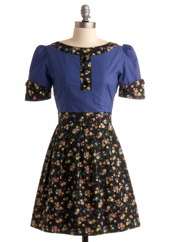Lunch in La Grange Dress - Blue, Multi, Floral, A-line, Short Sleeves, Work, Casual, Spring, Fall, Black, Mid-length