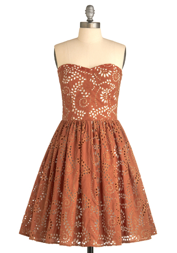 Pick the Perfect One Dress - Orange, Tan / Cream, Eyelet, Party, A-line, Mini, Strapless, Summer, Fall, Show On Featured Sale, Show On Featured Sale, Mid-length