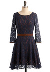 Your Year Dress - Blue, Floral, Lace, A-line, Long Sleeve, Brown, Trim, Wedding, Party, Fall, Mid-length