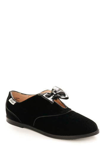 Rachel Antonoff for Bass Gamine Gallop Flat by Rachel Antonoff - Black, Silver, Bows, Party, Casual, Menswear Inspired, Fall, Winter