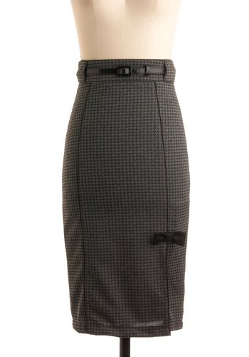 The Pencil Skirt is Mightier - Black, Grey, Houndstooth, Bows, Work, Fall, Winter, Long, Menswear Inspired