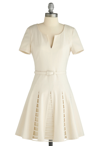 Paper Lanterns Dress - Cream, Solid, Buckles, Cutout, A-line, Short Sleeves, Wedding, Party, Vintage Inspired, Spring, Mid-length