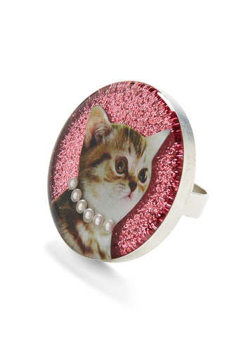 Glamour Cat Ring in Bootsie by Locketship - Silver, Pink, Party, Casual, Handmade & DIY