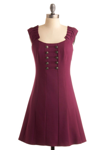 Plum Major Dress - Purple, Solid, Buttons, Pleats, A-line, Casual, Military, Cap Sleeves, Fall, Show On Featured Sale, Mid-length