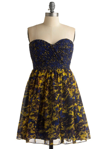 Kick-off Party Dress - Floral, A-line, Strapless, Party, Spring, Summer, Fall, Multi, Yellow, Blue, Mid-length, Press Placement