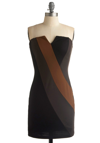 Definite Diva Dress - Black, Brown, Grey, Sheath / Shift, Strapless, Spaghetti Straps, Party, Summer, Fall, Mid-length