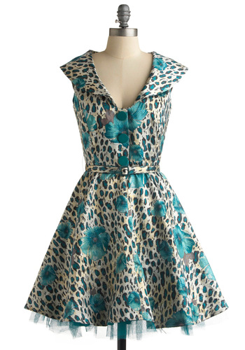 Pinup Perfection Dress by Bettie Page - Blue, Cream, Floral, A-line, Cap Sleeves, Formal, Wedding, Party, Rockabilly, 50s, Spring, Summer, Fall, Pinup, Vintage Inspired, 40s, Mid-length