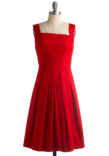 Cherry Me Up Dress - Red, Solid, Pleats, A-line, Tank top (2 thick straps), Wedding, Party, Vintage Inspired, Spring, Summer, Fall, Show On Featured Sale, Long