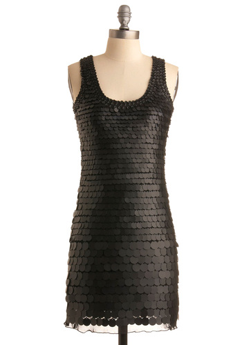 Disc Is How We Do It Dress - Black, Solid, Sequins, Shift, Tank top (2 thick straps), Party, Summer, Fall, Short