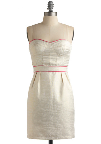 Champagne and Strawberries Dress - Cream, Solid, Sheath / Shift, Sleeveless, Party, Spring, Summer, Short