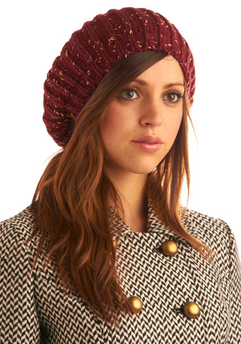 Hat Clad Cutie in Corner Store - Red, Solid, Knitted, Casual, Spring, Summer, Fall, Winter