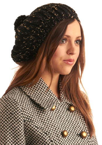 Hat Clad Cutie in Coffee Shop - Black, Pink, Knitted, Casual, Fall, Winter