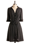 Ample Interests Dress - Black, Grey, Print, A-line, 3/4 Sleeve, Work, Vintage Inspired, Fall, Mid-length