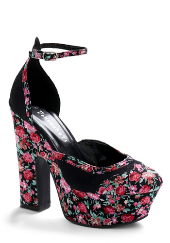 Petals at Your Feet Heel - Pink, Black, Multi, Floral, Party, 90s, Spring, Summer, Green