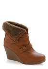 Buckle Up All Night Bootie - Tan, Solid, Buttons, Party, Casual, Fall, Winter