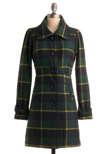 Riverside Park Coat - Green, Yellow, Plaid, Long Sleeve, Work, Casual, Fall, Winter, Long, Multi, Blue, 2.5