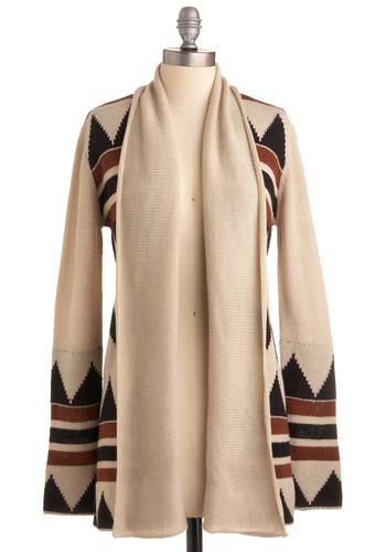 Four Corners Visit Cardigan by BB Dakota - Cream, Brown, Black, Print, Knitted, Long Sleeve, Casual, Fall, Winter, Folk Art, Long