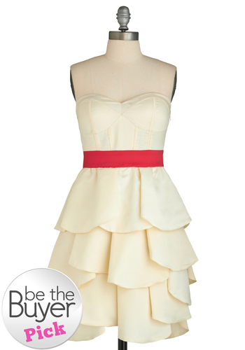 Holiday Sneak Peek Cherry Meringue Dress - Cream, Red, Solid, Ruffles, Tiered, Formal, Prom, Wedding, Party, A-line, Empire, Strapless, Spring, Summer, Fall, Winter