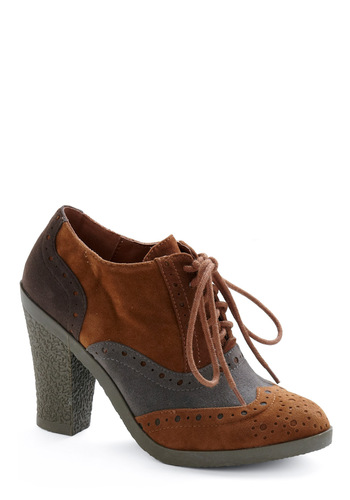 Go All Out Heel - Tan, Grey, Work, Menswear Inspired, Fall, Winter, Vintage Inspired, 20s, 30s, 40s