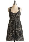 Skunkboy Creatures Dress - Black, Tan / Cream, Halter, Novelty Print, Backless, Casual, Empire, Mid-length