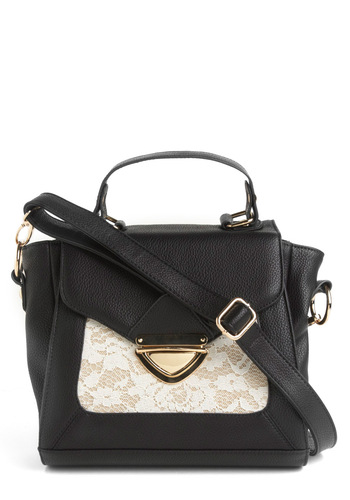 True Facts Bag - Black, White, Floral, Lace, Work, Casual, Spring, Fall