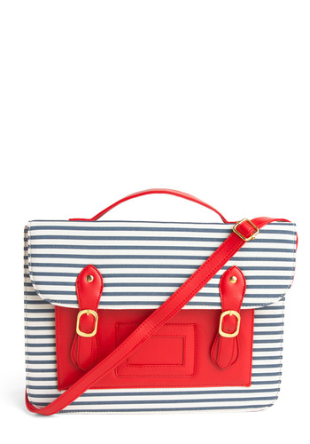 Blog On Satchel - Red, Blue, White, Stripes, Buckles, Nautical, Show On Featured Sale