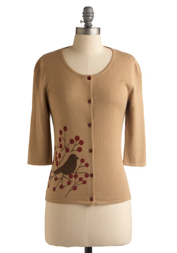 Hello Birdie Cardigan - Tan, Red, Brown, Print with Animals, 3/4 Sleeve, Work, Casual, Fall, Mid-length, Show On Featured Sale, Show On Featured Sale