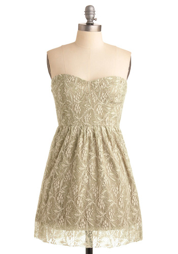 Autumn Getaway Dress - Cream, A-line, Strapless, Short, Lace, Pastel, Sweetheart, Tan / Cream, Casual