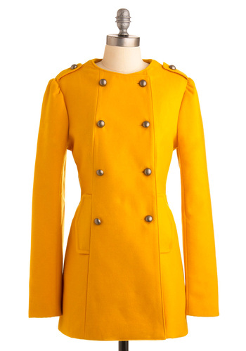 Turn It Upbeat Coat by BB Dakota - Yellow, Solid, Buttons, Long Sleeve, Epaulets, Military, Fall, Winter, Long, 3, Press Placement