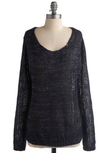 Exclamation Sparkle Sweater - Blue, Silver, Knitted, Long Sleeve, Casual, 90s, Fall, Winter, Mid-length