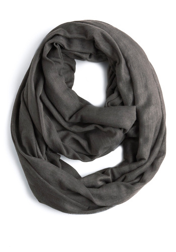 Come Full Circle Scarf in Grey - Grey, Solid, Casual, Spring, Fall, Winter