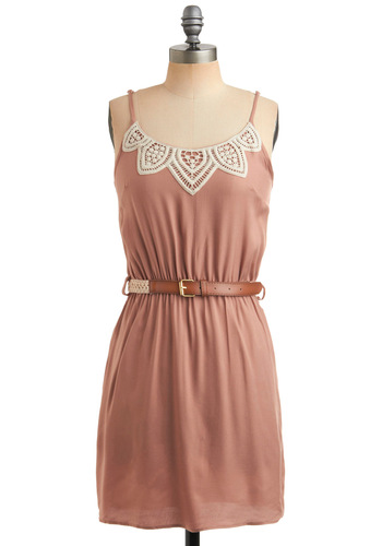 Peaseblossom Dress - Pink, Solid, Buckles, Crochet, Embroidery, Lace, Casual, A-line, Spaghetti Straps, Spring, Summer, Short