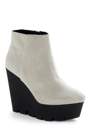 Sole Night Bootie - White, Black, Party, 90s, Fall, Winter, Wedge