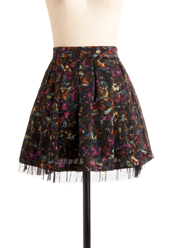 Rules of Glamour Skirt by Jack by BB Dakota - Multi, Orange, Yellow, Blue, Pink, Floral, Wedding, Party, 80s, Summer, Fall, Mini, Print, Black, A-line, Press Placement, Short