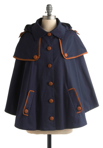 Takes the Cape - Blue, Brown, Buttons, Long Sleeve, Casual, Military, Fall, Mid-length, 1.5