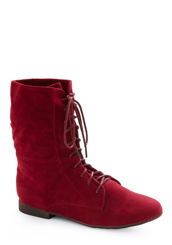 Lady in Rad Boot in Scarlet - Red, Solid, Fall, Winter, Low, Lace Up, Best Seller