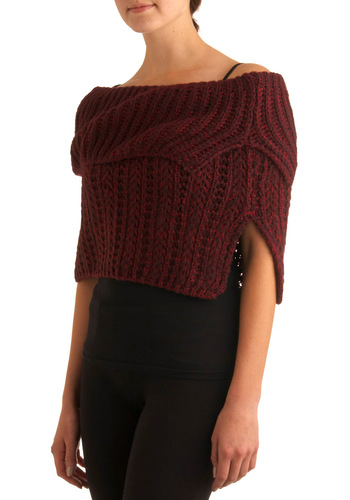 Arctic Armor Shoulder Warmer in Burgundy - Red, Solid, Knitted, Casual, Fall, Winter