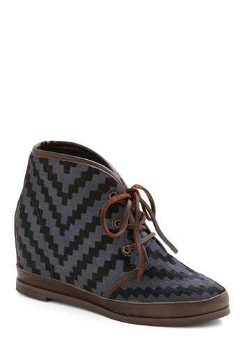 Staircase and Point Wedge by 80%20 - Blue, Brown, Print, Casual, Boho, Fall, Folk Art, Wedge