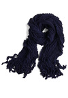 Ripple Effects Scarf in Midnight - Blue, Solid, Knitted, Ruffles, Fall, Winter