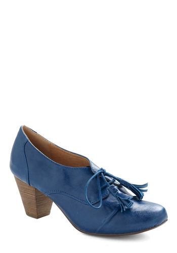 How Do You Dewey? Heel by Chelsea Crew - Blue, Solid, Tassels, Work, Casual, Spring, Fall