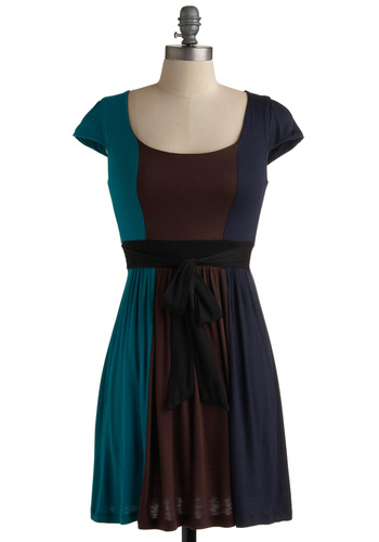 New Girl on the Block Dress - Blue, Brown, A-line, Casual, Cap Sleeves, Fall, Short, Jersey, Colorblocking, Summer, Travel