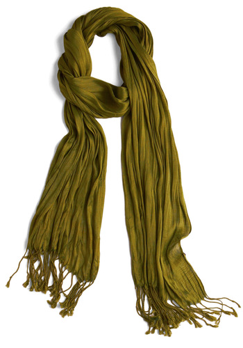 Crinkle in Time Scarf in Cactus - Green, Solid, Tassels, Spring, Summer, Fall, Winter