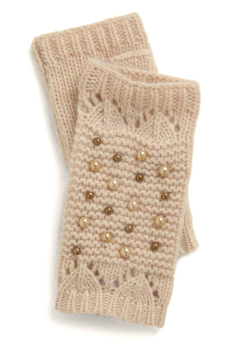 My Name is Pearl Gloves - Cream, Knitted, Pearls, Solid, Fall, Winter