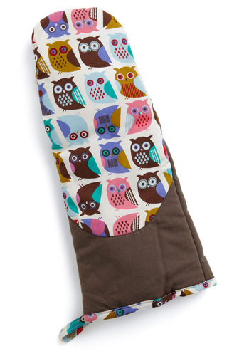 If You Can't Stand the Hoot Oven Mitt - Multi, Print with Animals, Owls, Mid-Century, Cotton, Good, Top Rated