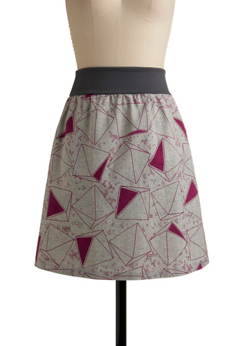 What's Your Tri-Angle Skirt by Kelly Lane - Grey, Purple, Print, Casual, Spring, Summer, Fall, Winter, Mid-length